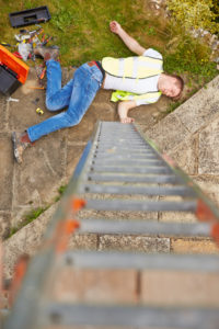 Construction Worker Suffering Injury After Fall From Ladder